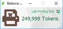 screen image of the lab printing tokens counter