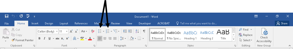Microsoft ribbon menu for ordered and unordered lists